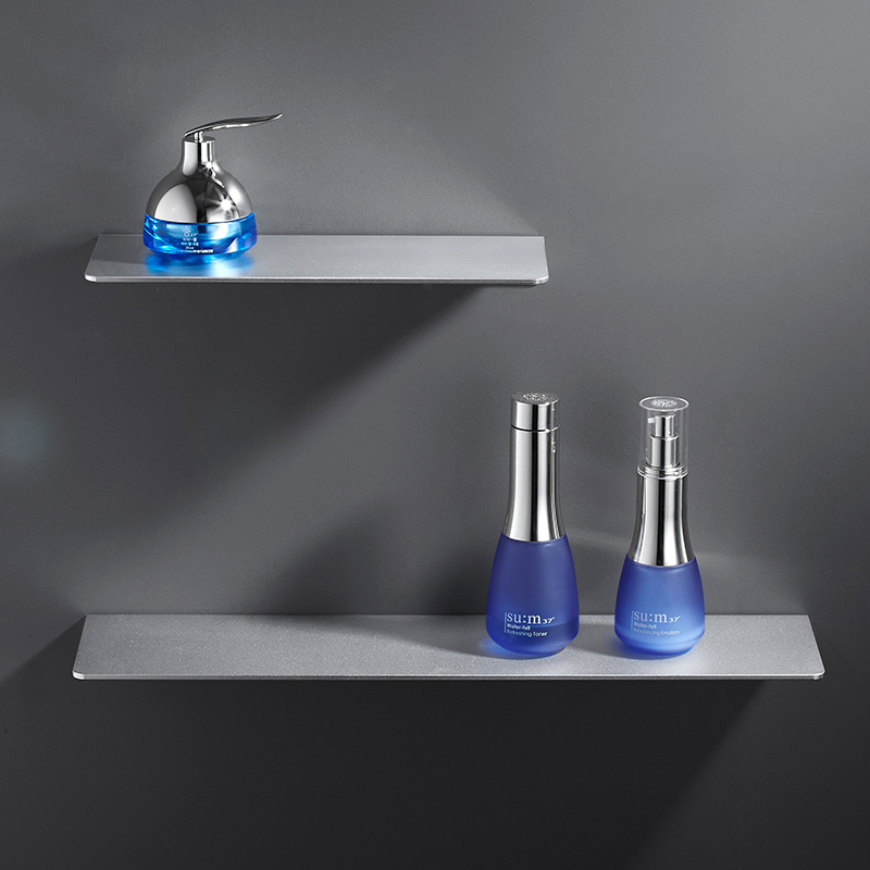 Silver Matt Bathroom Shelf Organizer Nordic Wall Mounted Thickening Space Aluminum Storage Racks Shower Caddy  Metal Shelves