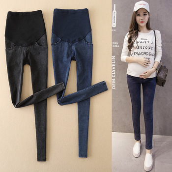 цена на Jeans Abdominal for Pregnant Women Denim Skinny Pants Breastfeeding Clothes Maternity Waist Elastic Trousers Pregnancy Clothes