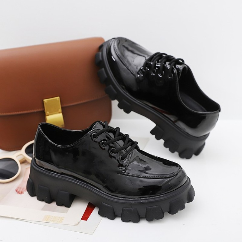 Women Oxfords Patent Leather Breathable Non-slip Shoes Female Lace-up Casual Thick Heel Shallow Student Thick Soled Shoes Z15-83