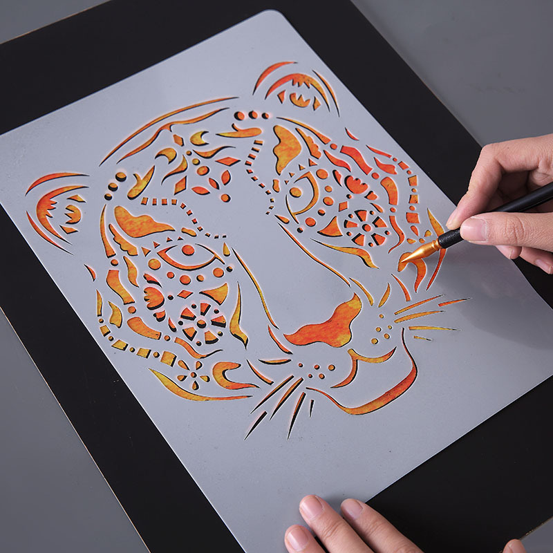 Warmom Kids DIY Drawing Toys Baby Child Hollow Template Educational Painting Toys Cartoon Tiger Scrapbooking Coloring Ruler Toys