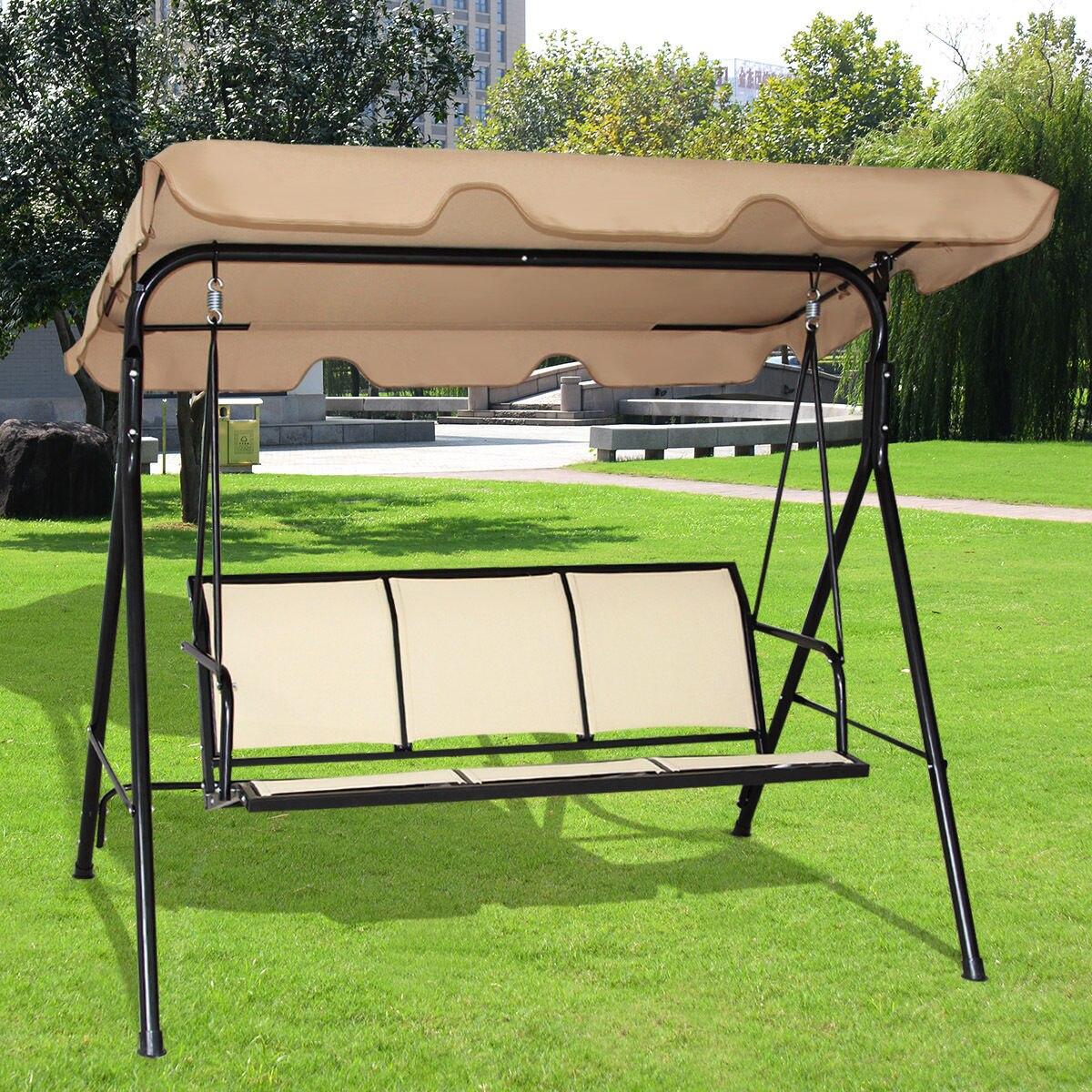 Costway 3 Person Outdoor Patio Swing Canopy Awning Yard Furniture Hammock Steel Beige