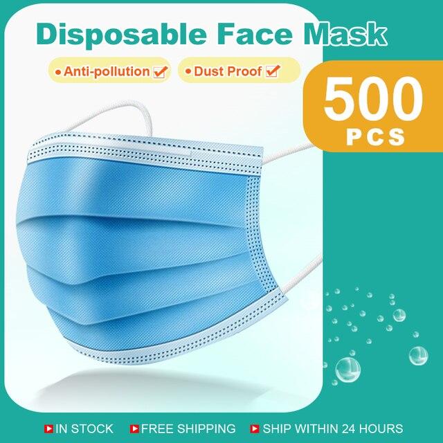 Masques jetables masque Non tissé à 3 couches masque Anti poussière masque de Protection respiratoire masque de Protection doux 10/50/100/200/500 pièces