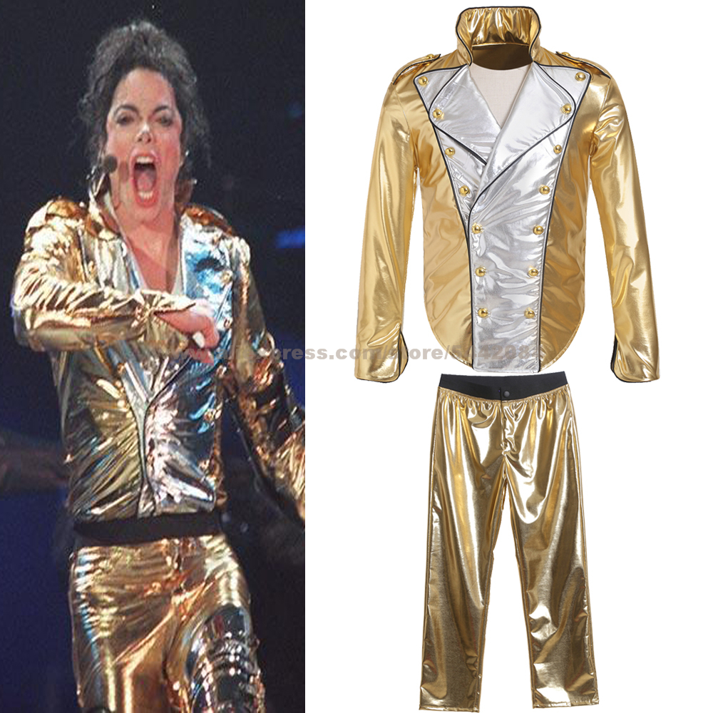 MJ Michael Jackson Coat History Golden Jacket Pants Cosplay Contstume For Cosplay Imitation Prop MTV Collection