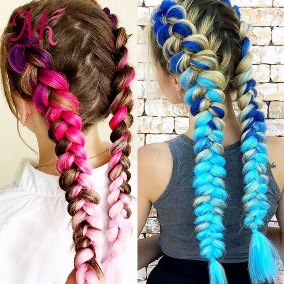 Moko Ombre Jumbo Braids Hair 24inch 100g Synthetic Crochet Braids Hair Extensions Fiber For Women One Tone Two Tone Three Tone