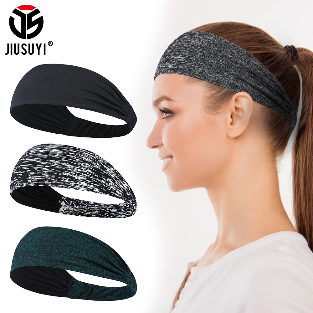 Breathable Elastic Sweatband Yoga Fitness Headband Men Hair Tie Cool Moisture Wicking Sport Headwear Women Girl Hair Accessories