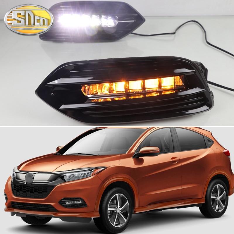 Front Fog Lamp Fog Light Eyelid Cover Trim ABS 2PCS For Honda Vezel HR-V 2014-17