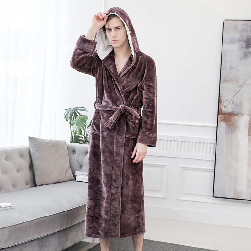 Winter Coral Fleece Hooded Men Kimono Robe Gown Warm Casual Full Bathrobe Gown Solid Homewear Soft Flannel Sleepwear Nightwear