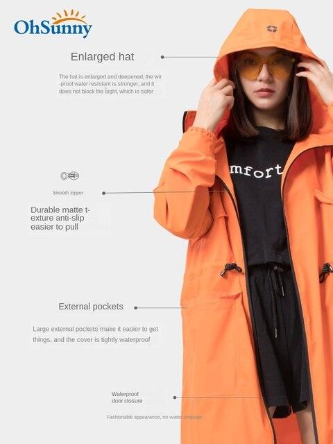Adult Long Raincoat Rain Jacket Waterproof Outdoor Hiking Blue Rain Poncho Women Jacket Windbreaker Manteau Femme Gift Ideas 2