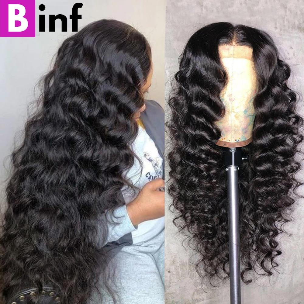 Парик для чернокожих женщин, свободные фронтальные натуральные волосы с глубокой волной, на сетке, часть 13x1 T, 4x4, 28 Дюймов, 30 дюймов