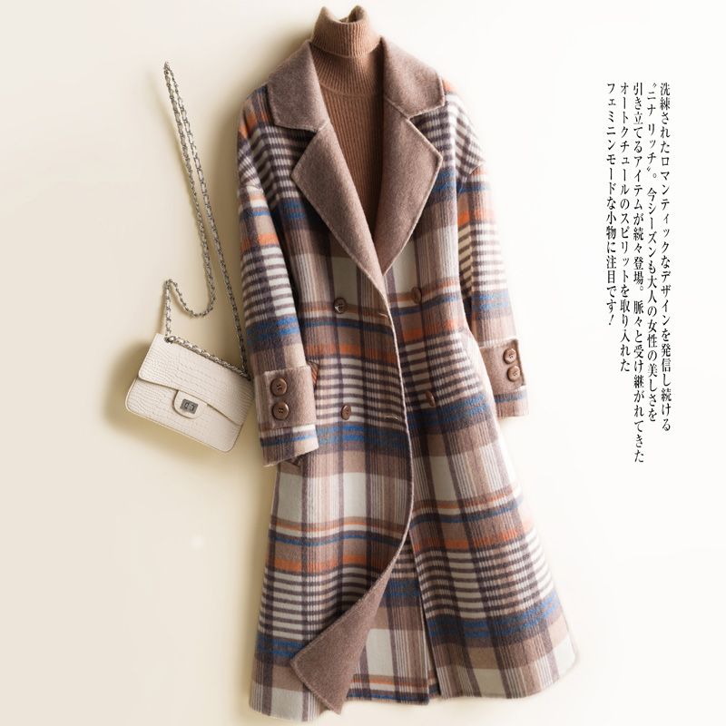 Spring Autumn 100% Wool Coat Female Lelegant Ladies Long Woolen Jacket Women Manteau Femme 2020 Korean Vintage Blend Coats 8137
