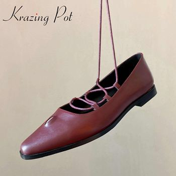 Krazing pot new genuine leather fashion leisure style small square toe low heels narrow band daily wear spring women pumps L5f1