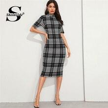 Sheinside Elegant Stand Collar Houndstooth Midi Dress Women 2019 Autumn Short Sl