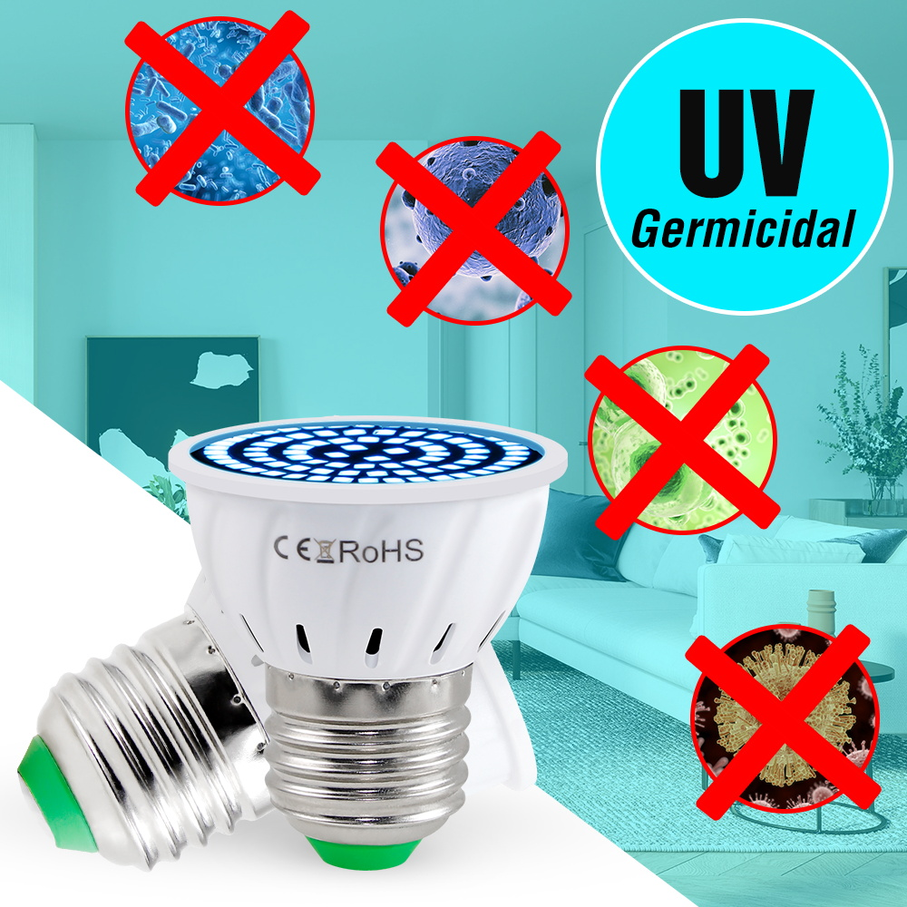 E27 UV Germicidal Light MR16 Disinfectant Lamp E14 LED UVC Light Bulb GU10 LED Sterilizer Lamp 48 60 80leds Ultraviolet Bulb B22
