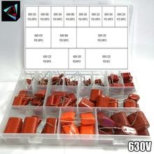 630V 128 adet/kutu 24 türleri 333 682 104 683 103 223 334 224 474 684 155 225 105 CBB metal Film kondansatörler çeşitler kiti