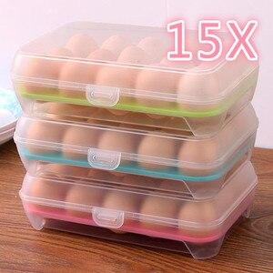 15 Egg Holder Boxes Tray Storage Plastic Refrigerator Eggs Box Case Container Anti-collision Transparent Egg Carton Kitchen Tool(China)