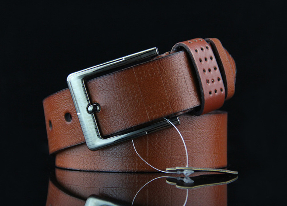 Men's Leather Alloy Pin Buckle Jeans Belt Fashion Business Cow Genuine Leather Men's Youth Luxury Retro Classic Belts