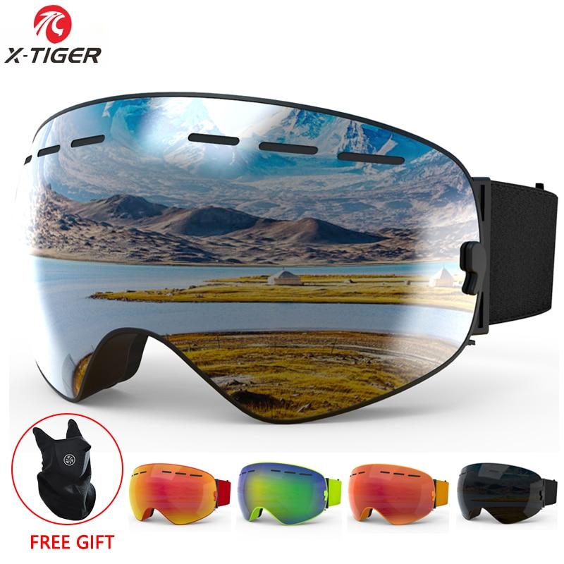 X-TIGER Brand Ski Goggles Unisex Ski Glasses Double Layers UV400 Anti-Fog Big Ski Mask Glasses Skiing Snow Snowboard Goggles
