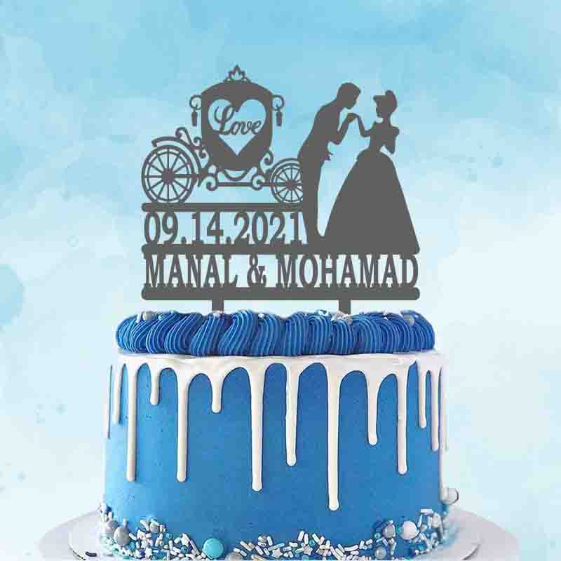 Personalized Prince and Princess Wedding Topper Custom Couple Name Date Cartoon Cake Topper For Wedding Party Cake Decoration