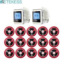 Retekess 10 Uds. De transmisores de botón de llamada T117 + 2 uds. De receptores de reloj, buscapersonas inalámbrico para restaurante, sistema de llamada de camarero, barra de oficina