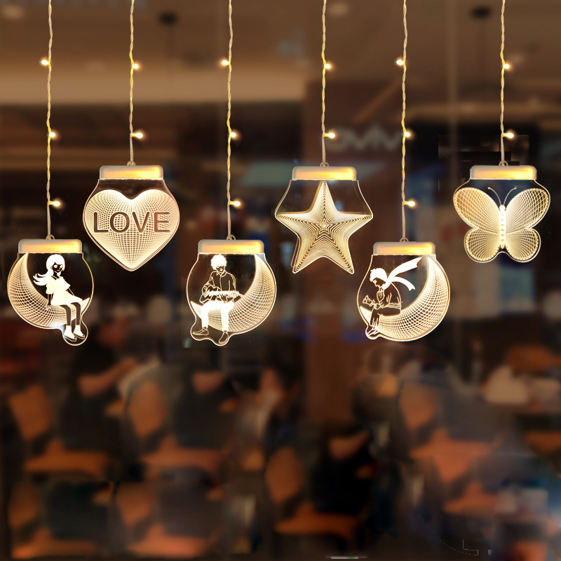 USB Star Night Light String Love Moon Led Fairy Lights Party Wedding Home Kids Room Decoration Lighting Children Night Lamp