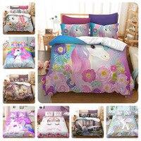 Conjunto de cama de unicórnio de desenho  conjunto de cama fofo  duvet  capa de edredon para crianças  colcha  capa  queen  king size