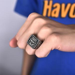 Image 2 - แฟชั่นไทเทเนียมแหวนเหล็กสำหรับชายมุสลิมอิสลาม Shahada ตุรกี Quran Aqeeq อัลลอฮ์ตะวันออกกลางหมั้นเครื่องประดับแหวนของขวัญ