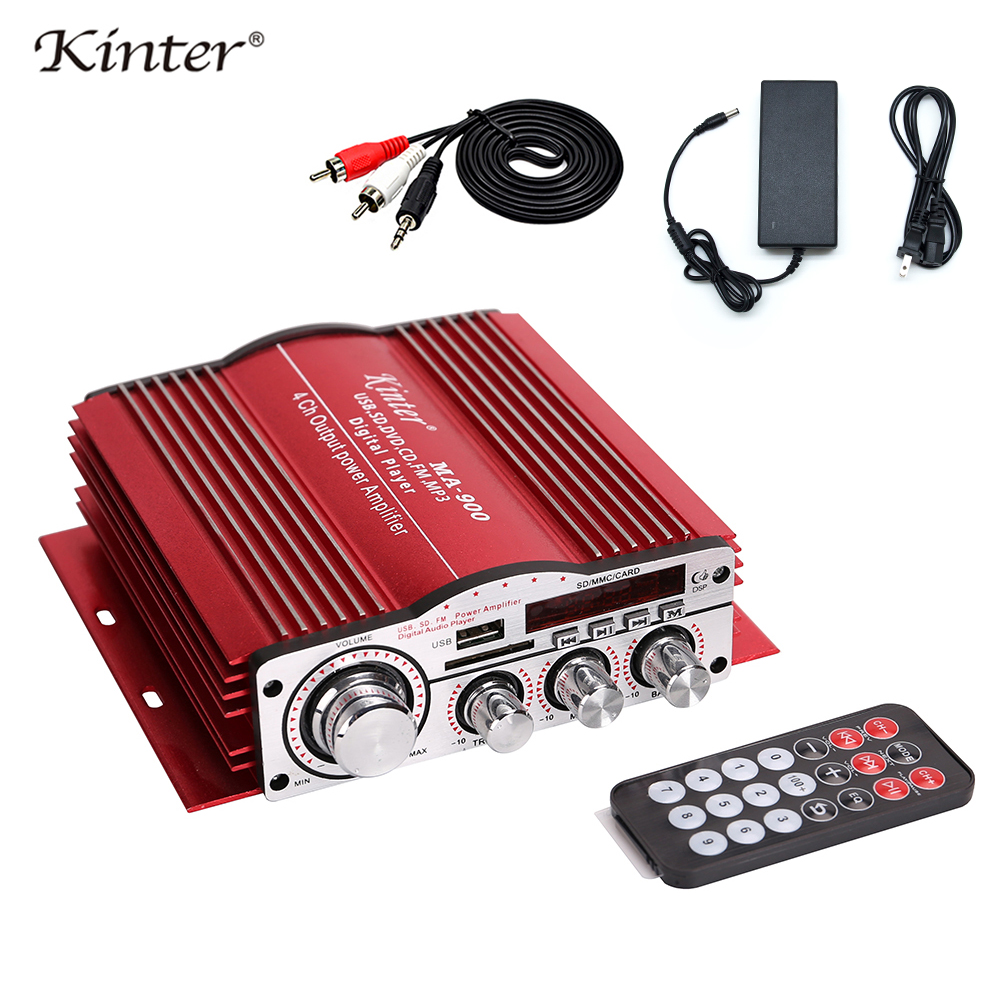 Kinter MA 900 ミニアンプオーディオ 4.0CH 30 ワット DC12V 供給 5A アダプタケーブルアルミシェル再生ステレオサウンドと MP3 USB SD FM  グループ上の 家電製品 からの アンプ の中 1