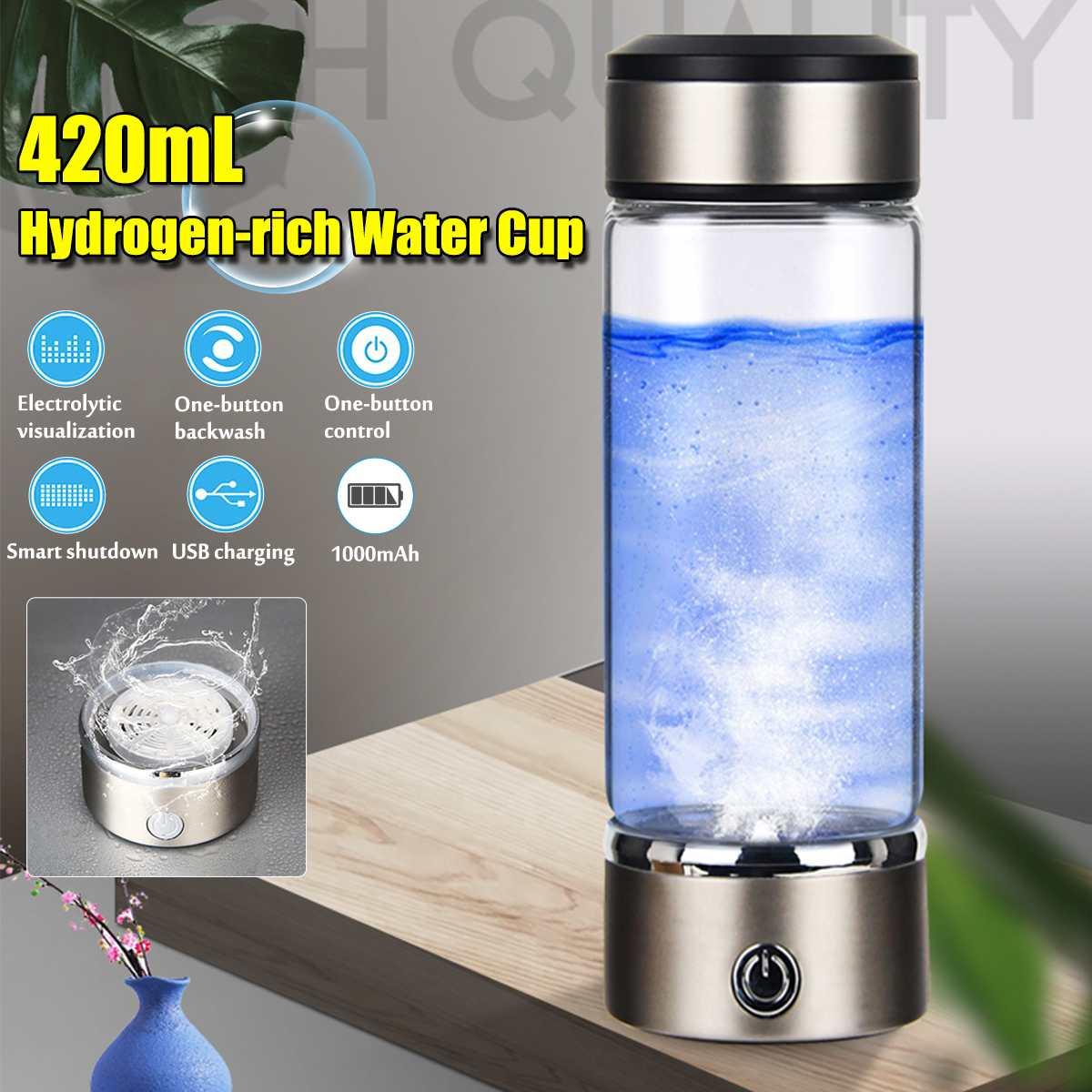 Портативный USB 420 мл, генератор ионизатора водородной воды, щелочной генератор, перезаряжаемый светодиодный светильник, бутылка для воды