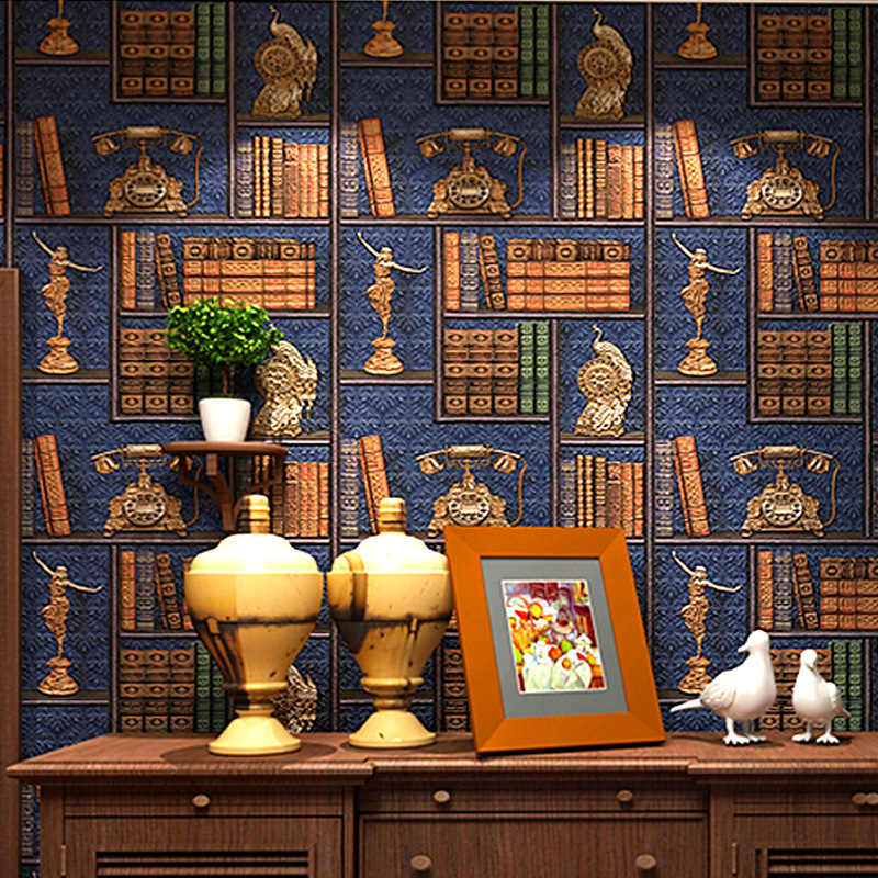 3D Creative Bookshelf Library American Vintage European Style Wallpaper Coffee Shop Chinese Style TV Backdrop Wallpaper