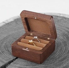 Natural Walnut Wood Magnetic Cover Wooden Couple Ring Earring Holder Jewelry Storage Case Gift Boxes Wholesale 12pcs