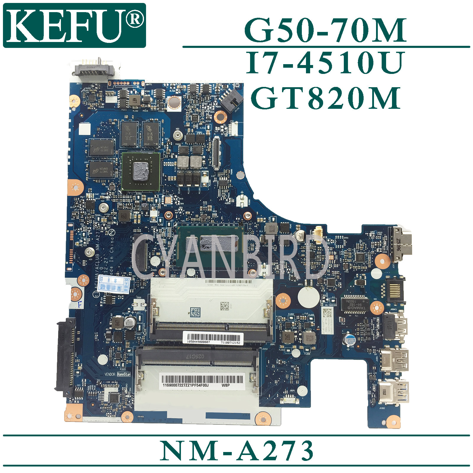 KEFU NM-A273 original mainboard for <font><b>Lenovo</b></font> G50-70M <font><b>Z50</b></font>-<font><b>70</b></font> with I7-4510U GT820M Laptop <font><b>motherboard</b></font> image