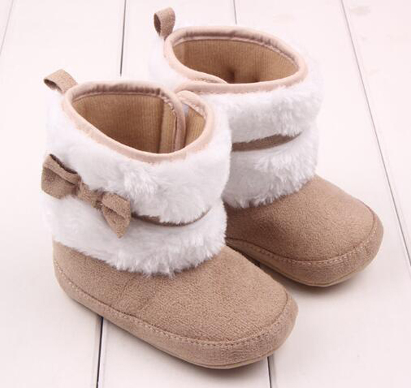 SandQ Baby Boots Newborn White Girls Infant Shoes Prewalkers Crib Nonslip Fur 2019 Winter Warm Christenning Wedding