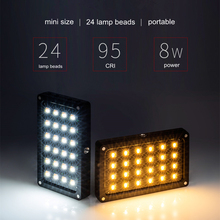 Viltrox rb08 미니 led 비디오 라이트 휴대용 카메라 라이트 패널 dslr 캠코더 용 2500 k ~ 8500 k 바이 컬러 cri95 + 내장 배터리