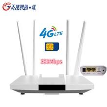 300Mbps 4g Wifi Router Unlocked Modem Wifi Sim Card 4 External Antennas Home Hotspot Mesh GSM LTE Mobile Wireless Router