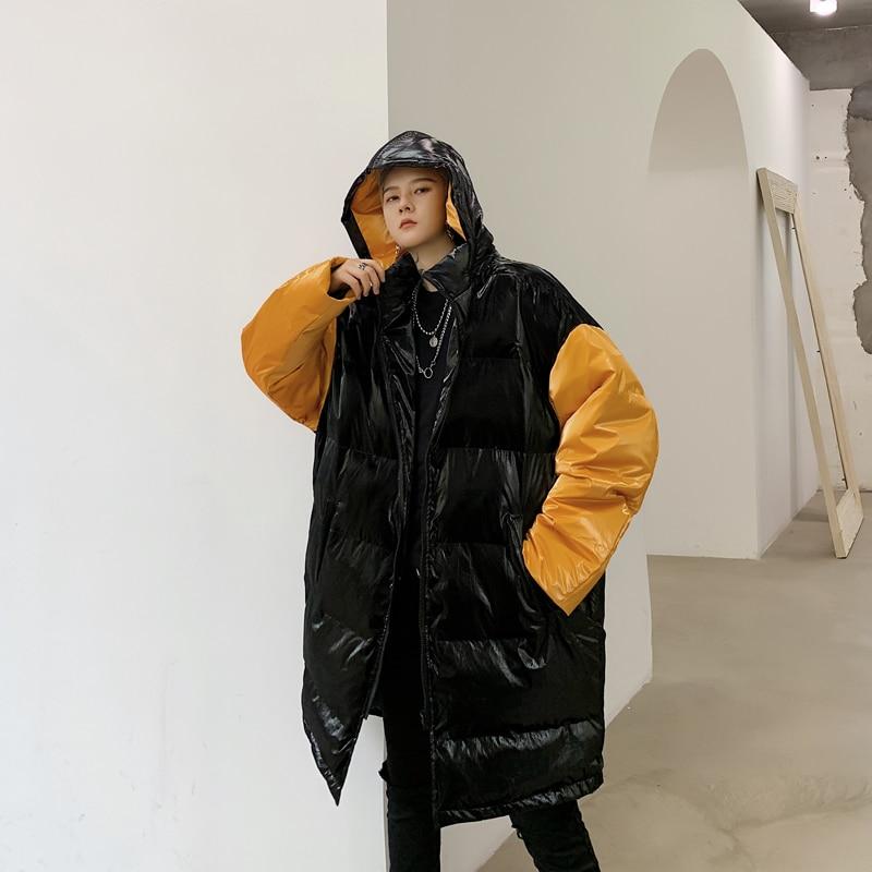 Winter Long Coat Men's Fashion Parka Men Contrast Color Casual Hooded Coat Man Streetwear Loose Hip Hop Jacket Male Clothes