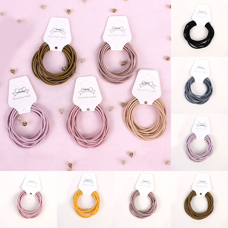 10 Pieces Mini Hair Band Fashion Candy Color Rubber Ties Ring Elastic Hair Rope Ponytail Holder For Kids Hair Accessories