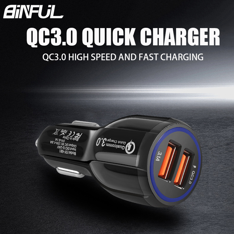 Quick Charge 3.0 Car Charger For Universal Mobile Phone Dual USB Car Fast Charge Charging Power Adapter For iPhone Xiaomi In Car