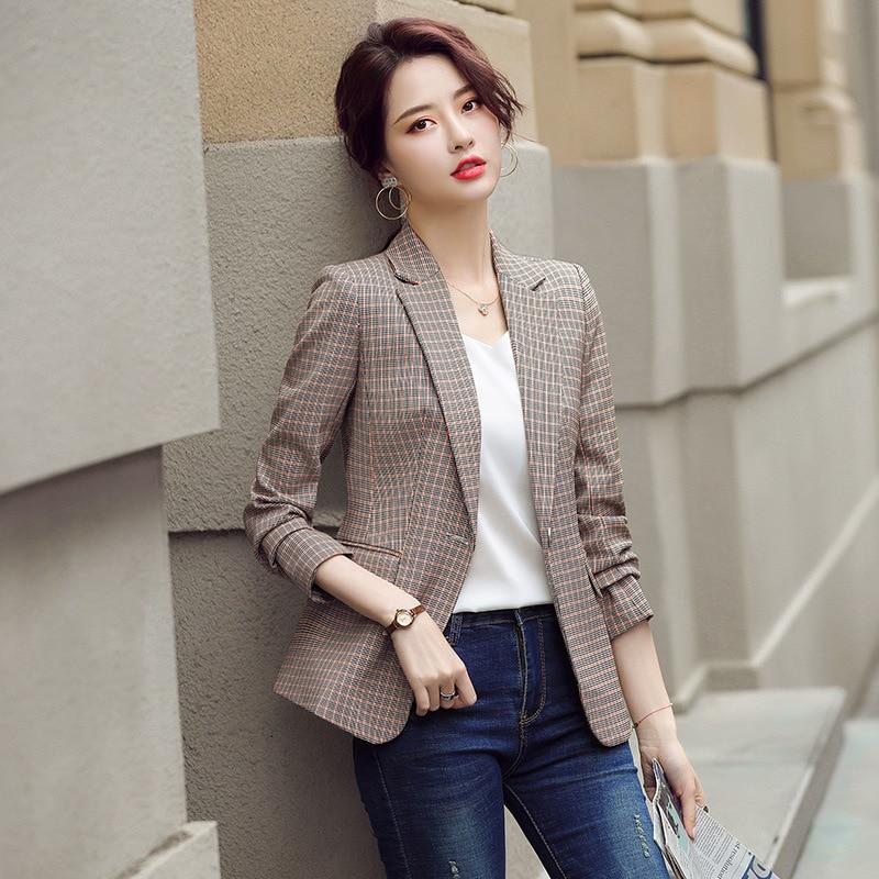 Women's high-quality professional office suit 2020 new autumn temperament plaid ladies blazer Casual interview jacket