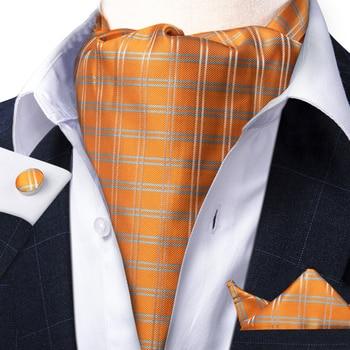цена Men Vintage Orange Check Striped Silk Gentlemen Self Tie Cravat Ascot Necktie Handkerchief Set Wedding Party Ascot Tie DiBanGu онлайн в 2017 году
