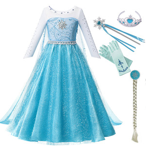 Elsa Dress for Baby Girls Fancy Princess Party Elsa Costume Kids Comic Con Snow Queen Cosplay Outfit Halloween Disguise Clothing
