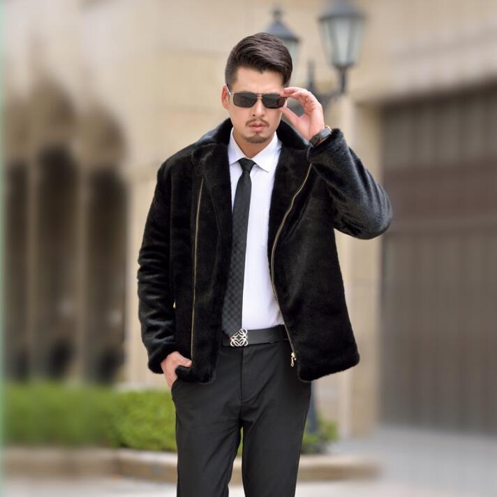 Autumn black faux mink fur leather jacket mens winter thicken warm fur leather coat men loose jackets jaqueta de couro B161