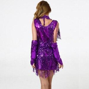 Image 2 - فستان حفلات الرقص اللاتينية من BLINGSTORY ، فستان مُزين بالترتر ، فستان مُزين بالشراشيب للكبار ، فساتين حفلات الرقص ، Vestidos De Salsa