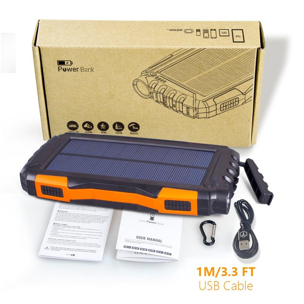 IP65 Waterproof 20000mAh High-Capacity Solar Power Bank with LED Flashlight and Dual USB Ports
