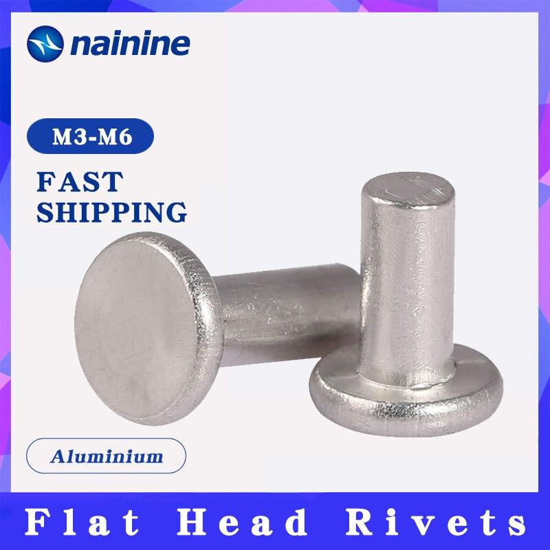 50/100Pcs M3 M4 M5 M6 GB109 Aluminium Solid Rivets AL Knock Flat Head Rivet HW201