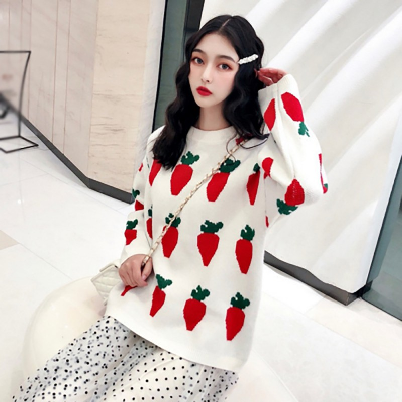 Women Sweater Autumn Winter New Carrot Pattern Print Sweater Casual Loose Long-Sleeved Round Collar Knit Bottom SweaterG1