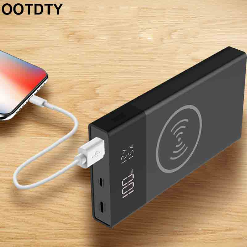 6x 18650 Battery DIY Qi Wireless Charger QC3.0 USB Type C PD Power Bank Box Case Without Battery