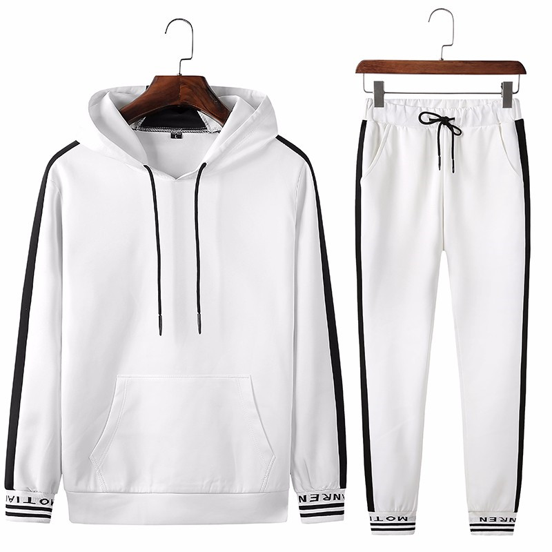 Men Sets Tracksuit Spring Autumn Hooded Sweatshirt Drawstring Sportswear New Male Suit Pullover Two Piece Set Casual Clothing