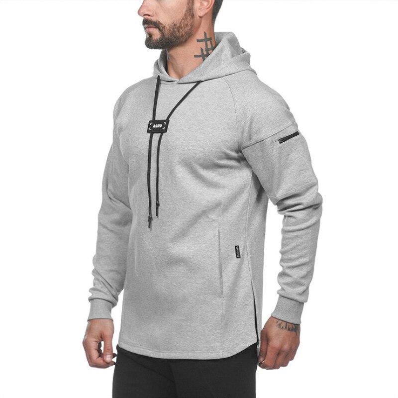 2019 Autumn Running Jackets Men Sports Long Sleeve Hoodies Sweatshirt Hoodies Slim Fit Sweatshirts Male Gym Training Pullover