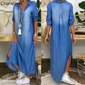 Women Summer Denim Dress Lmitation Cowboy Short Sleeve Split Long Dress Fashion V-neck Ankle Length Dress Robe Longue Vestidos