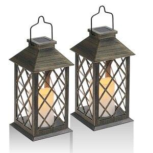 Солнечный фонарь, наружный садовый подвесной фонарь, набор из 2, светодиодный мерцающий беспламенный фонарь для свечей для стола, улицы, час...